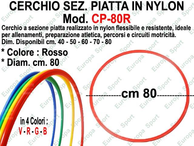 CERCHIO IN NYLON SEZ. PIATTA DIAM. CM. 80 COL. ROSSO MOD. CP-80