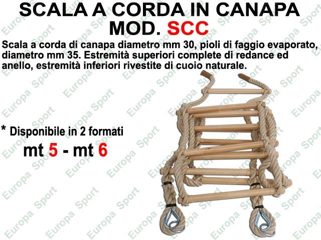 SCALA A CORDA IN CANAPA CON PIOLI DI FAGGIO DIAM. MM. 35