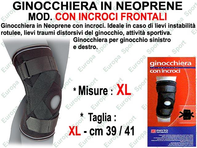 GINOCCHIERA IN NEOPRENE CON INCROCI FRONTALI SENZA SNODO MIS. XL