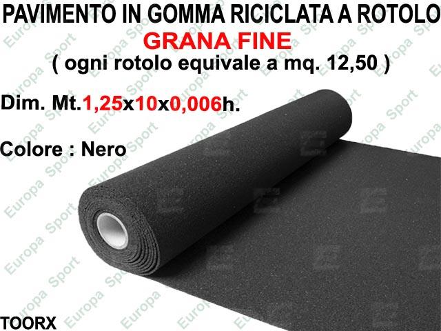 PAVIMENTO IN GOMMA RICICLATA A ROTOLO GRANA FINE MT. 10x1,25x0,006 H. TOORX  MOD. PANT-14
