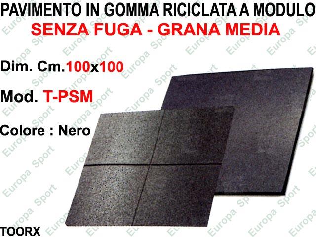 PAVIMENTO IN GOMMA RICICLATA SENZA FUGA GRANA MEDIA CM. 100x100  MOD. TOORX - PSM