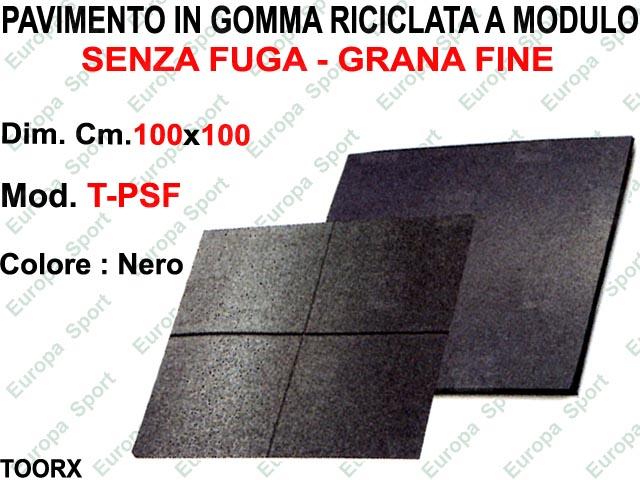 PAVIMENTO IN GOMMA RICICLATA SENZA FUGA GRANA FINE CM. 100x100  MOD. TOORX - PSF