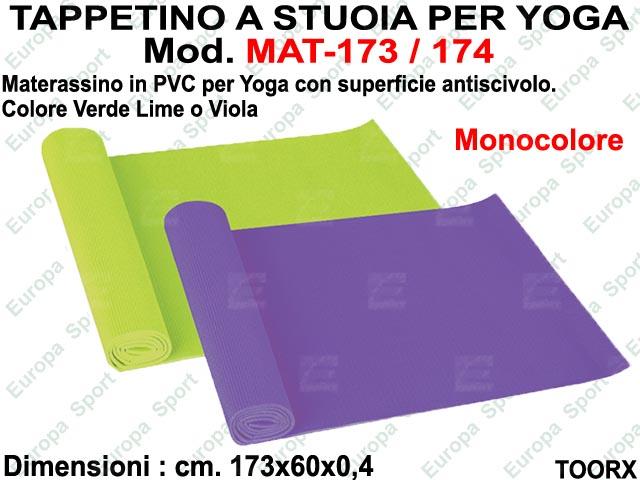 TAPPETINO IN PVC A STUOIA PER YOGA DIM. CM. 173x60x0,4 TOORX   MOD. MAT-173 / 174