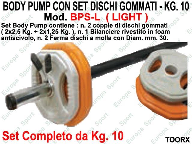 BODY PUMP CON SET DISCHI GOMMATI - KG. 10 TOORX  MOD. BPS-L  ( LIGHT )