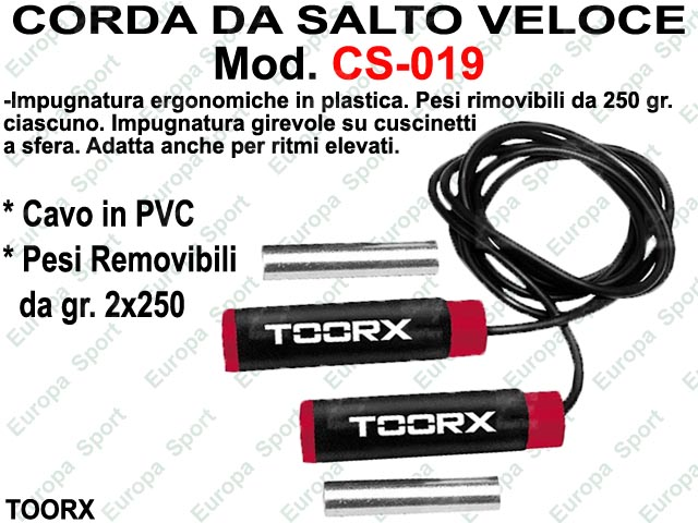 CORDA DA SALTO IN PVC CON PESI ( 2x250 gr.) - MANOPOLE SOFT TOUCH TOORX  MOD. CS-019
