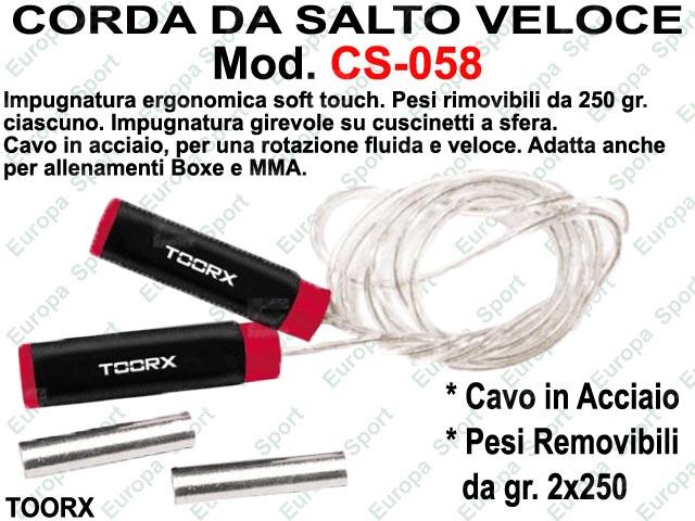 CORDA DA SALTO VELOCE IN ACCIAIO PRO CON PESI ( 2x250 gr.) - MANOPOLE SOFT TOUCH  MOD. CS-058
