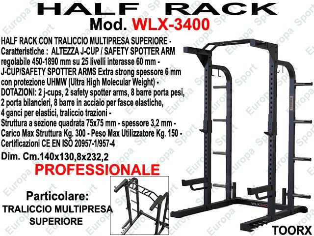 HALF RACK CON TRALICCIO MULTIPRESA SUPERIORE MOD. WLX-3400