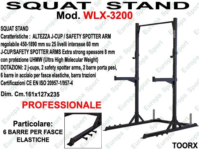 SQUAT STAND CON 6 BARRE PER ELASTICI MOD. WLX-3200