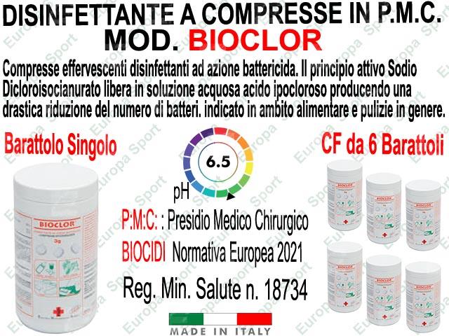 BIOCLOR P.M.C. - DISINFETTANTE - AZIONE BATTERICIDA IN COMPRESSE EFFERVESCENTI