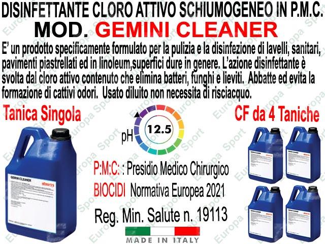 GEMINI CLEANER P.M.C. - DISINFETTANTE - CLORO ATTIVO SCHIUMOGENEO