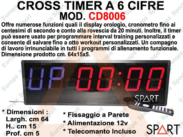 CROSS TIMER A 6 CIFRE COMPLETO DI TELECOMANDO  - SPART -  MOD. CD8006