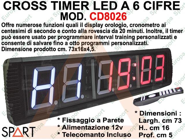 CROSS TIMER LED A 6 CIFRE COMPLETO DI TELECOMANDO  - SPART -  MOD. CD8026