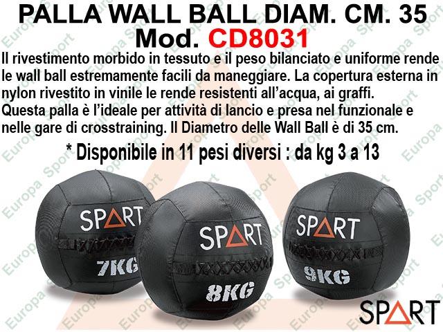 PALLA WALL BALL DIAM. CM. 35 - NERA - SPART -  MOD.  CD8031